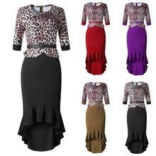 Moda feminina apertado meia manga leopardo impressão babados flounce sexy vestido verão vintage leve vestido feminino 2020