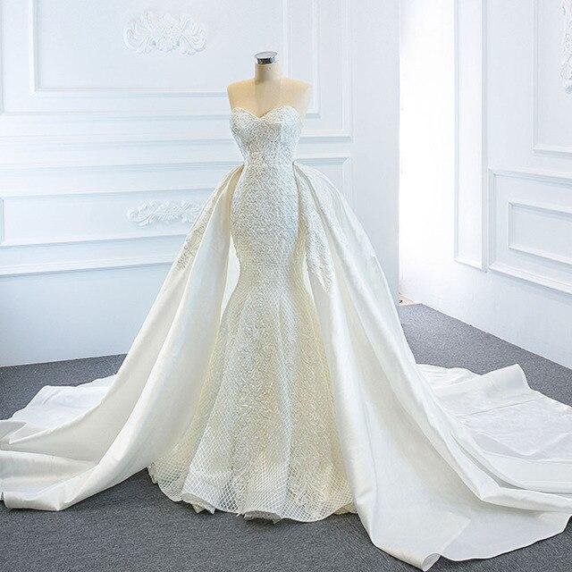 2021 New Arrivals 2 Pieces Pearls Lace Mermaid Wedding Dress With Detachable Chapel Train Vestido De Noiva Sereia 2 Em 1 2