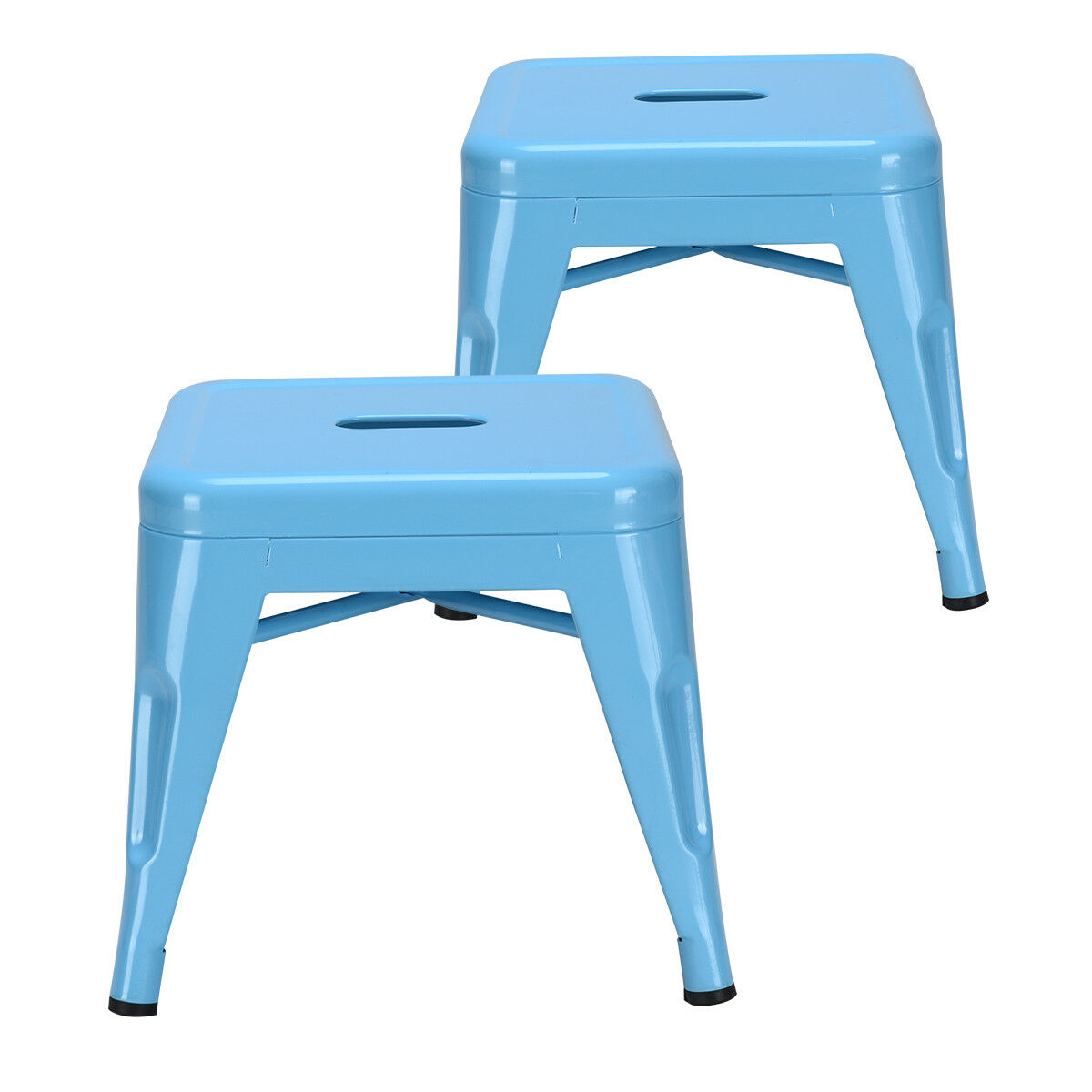 Set Of 2 Tolix Kids Stools Children Toddlers Lightweight Chairs Stackable Blue