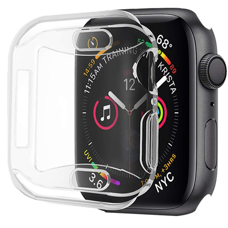 Clear Cover On For Iwatch 5 4 Case 44mm 40mm Coque Cases 42mm 38mm Full TPU Screen Protector Bumper For Apple Watch 3 2 1 44 MM
