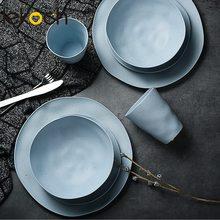 אירופאי כלי שולחן 1 סט עבור 8PCS במבוק סיבי ביתי סט Dishware פשוט מנות סלט מרק קערת צלחת סטייק מערבי צלחת