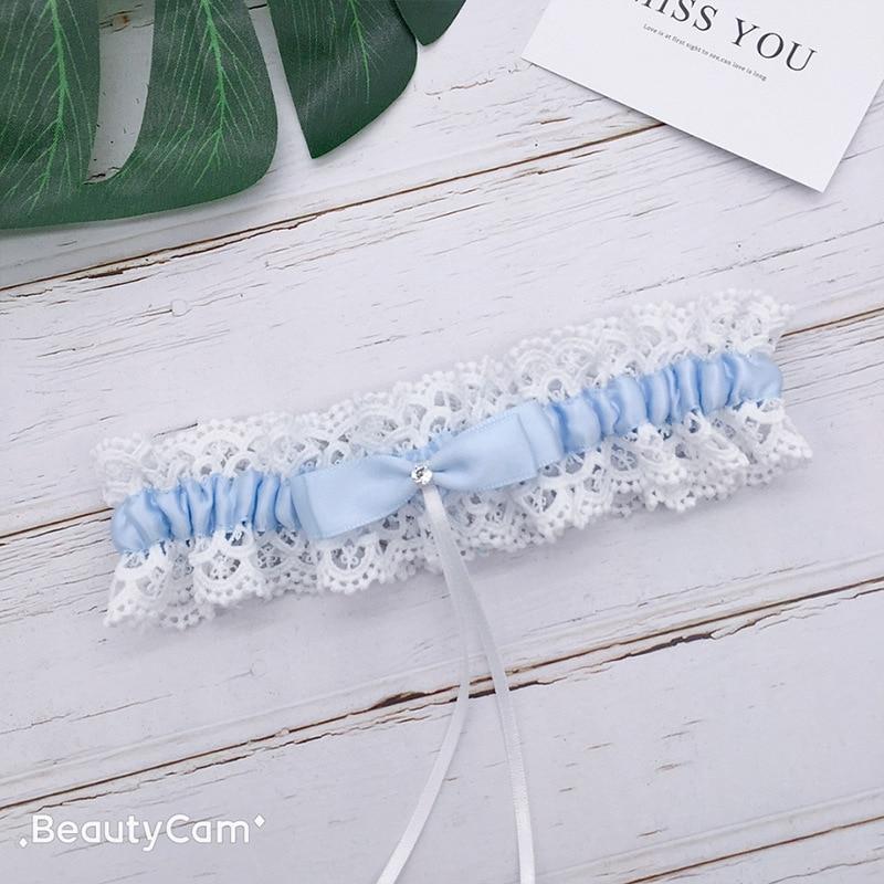 Blue Wedding Garter Bridal Shower Bride Keepsake Lace Floral Rhinestone Bow Sexy Women Ladies Leg Garter Thigh Ring