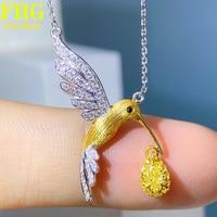 18K Au750 White Gold Necklace 0.39Carat Nature Yellow diamond Hummingbird Necklace Wedding Party Engagement Anniversary 1