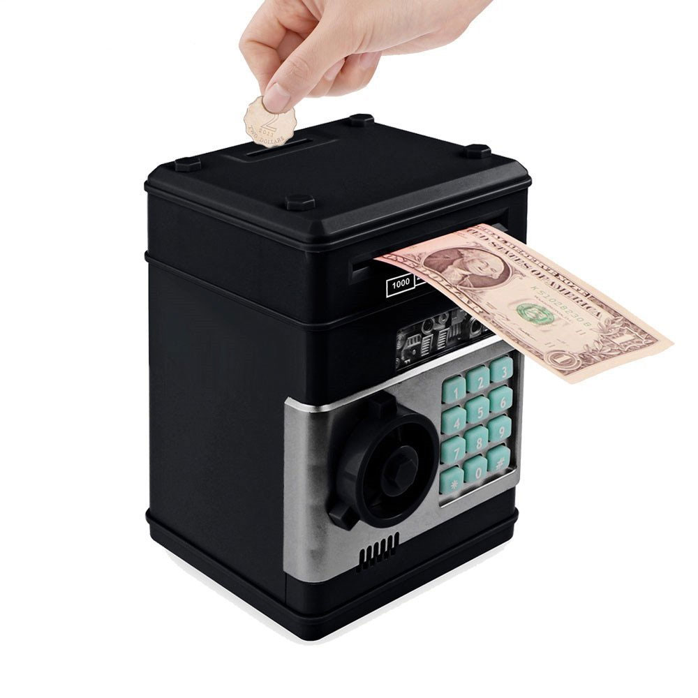 Electronic Automatic Piggy Bank ATM Password Money Box Cash Coins Saving Kids Bank Safe Case Deposit Banknote Birthday Gifts