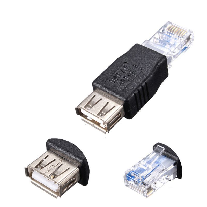 Professional 2pcs/set Network Adapters RJ45 To USB Female Ethernet Converter Plug Connector