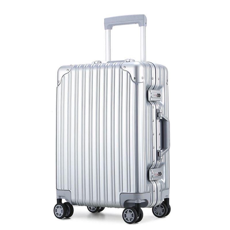 24-Inch Aluminum Frame Travel Trolley ABS + PC Luggage Universal Wheel Customs Password Travel Lugguge 20-Inch Boarding Bag Leat