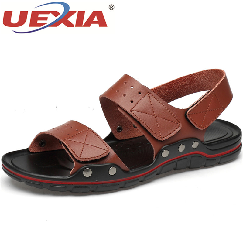 UEXIA New Men Sandals Leather Summer Beach Shoes Men's Sandal Shoes Soft Bottom Male Roman Comfortable Outdoor Sneakers Big Size