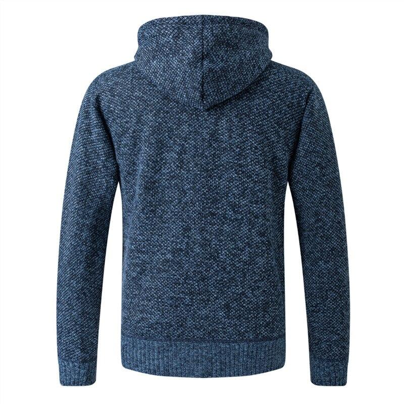 2020 New Cardigan Mens Hooded Collar Fleece Warm Sweaters Coat Men Coat Hoodies Jacket Thick Full  Solid Cardigan Male Coats 2