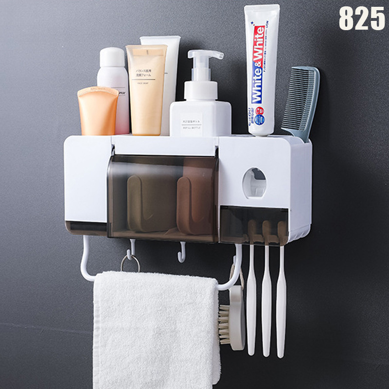 Wall Mounted Toothbrush Holder Set with Cups Automatic Toothpaste Dispenser Bathroom Kit OCT998|Storage Shelves & Racks| |  - title=