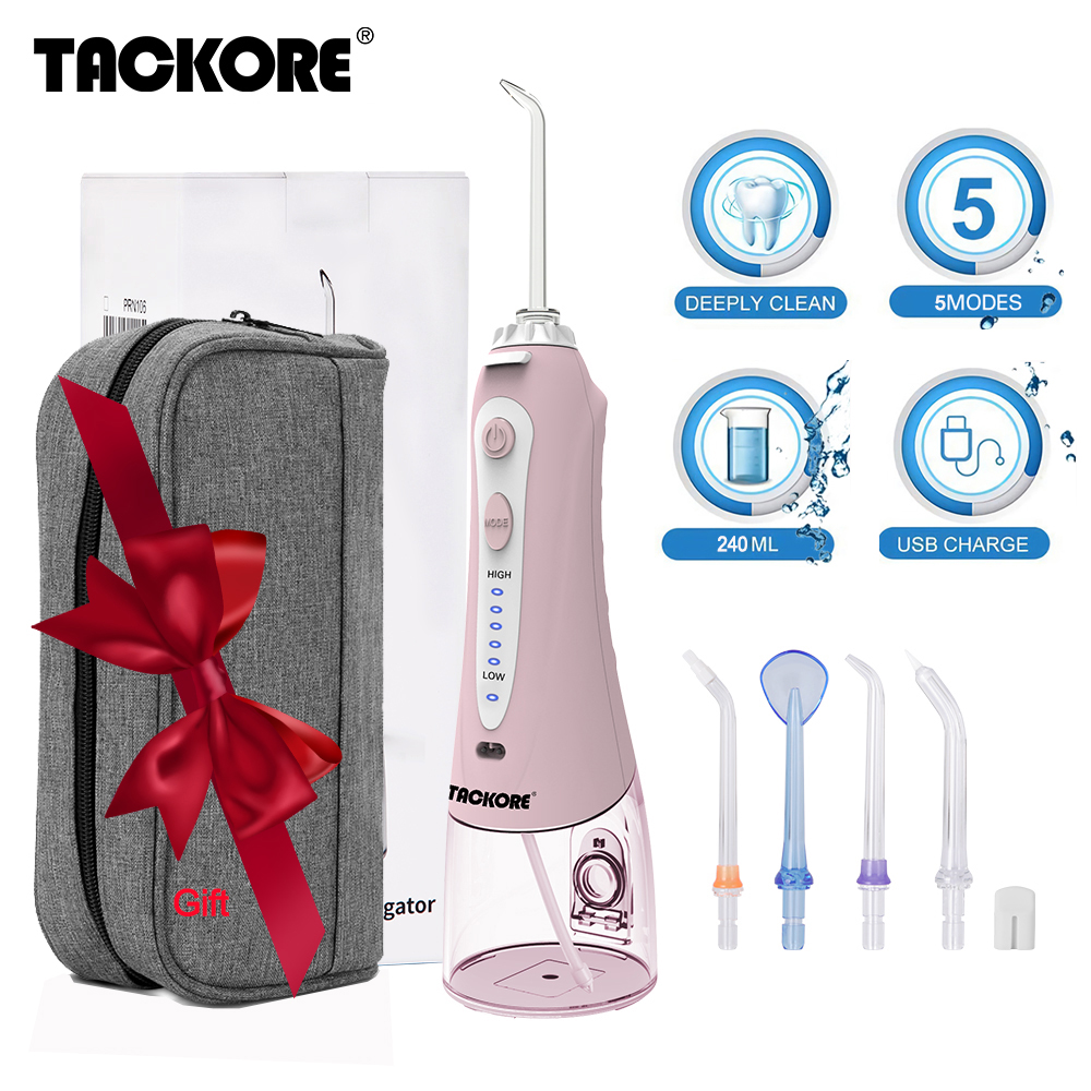 Portable Oral Irrigator 5 Mode Travel Case USB Rechargeable Cordless Water Dental Flosser Water Jet Tooth Pick 240ml 5 Tip(China)