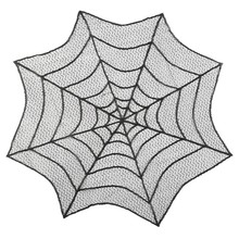 Round Spider Web Design Tablecloth Table Cover Beautiful Black Lace Tablecloth Decoration Holiday Halloween Party Supplies CM ourwarm 1pc halloween table cloth party table decoration spider web lace design rectangle tablecloth with ghost party decoration