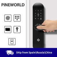 PINEWORLD biometryczna blokada z użyciem linii papilarnych, inteligentna blokada bezpieczeństwa z hasłem WiFi zdalne odblokowanie aplikacji RFID, inteligentny zamek elektroniczny