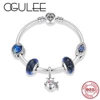 New 925 Sterling Silver Blue Ocean Zircon beads Charms Femme bracelet Chain Bangles Women accessories Fine jewelry Couple Gift