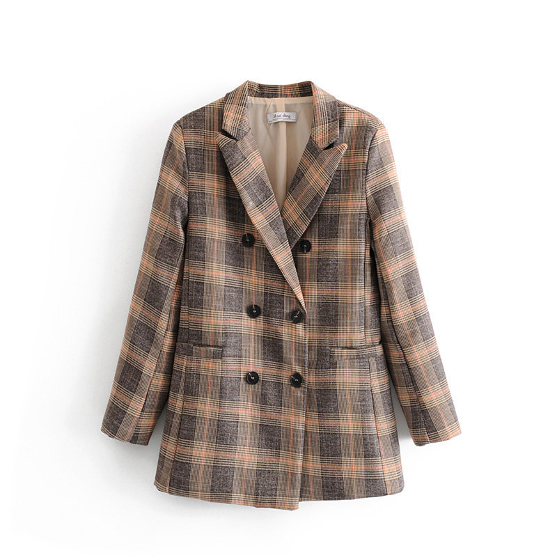 Casual Vintage Ladies Jacket Suit Autumn Double-breasted Long-sleeved Plaid Female Long Blazer 2019 New Women's Clothing