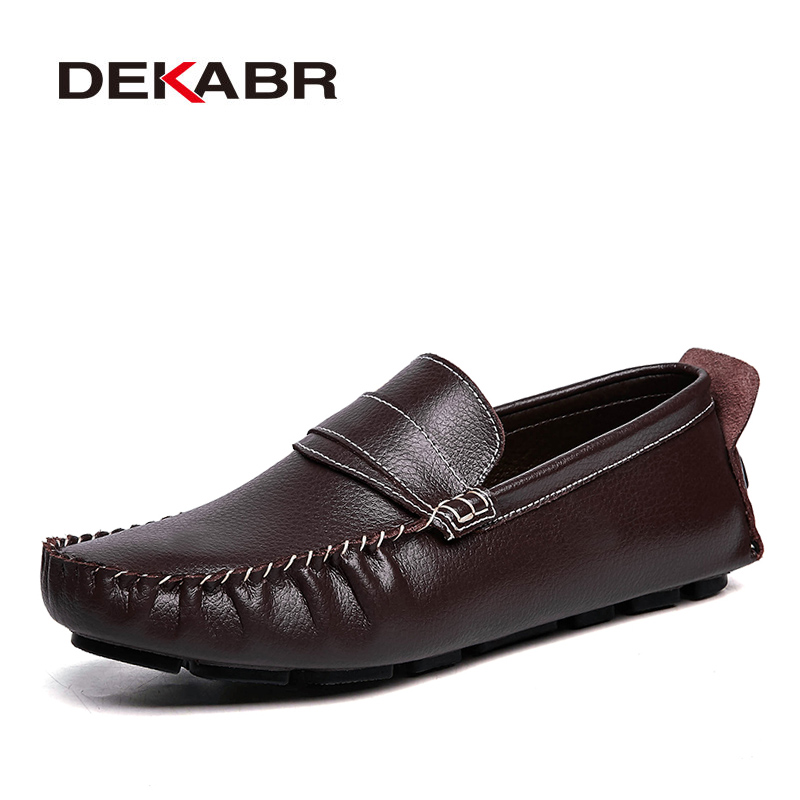 DEKABR Big Size 48 Genuine Leather Mens Shoes Casual Luxury Brand Loafers Men Moccasins Designer Italian Original Driving Shoes