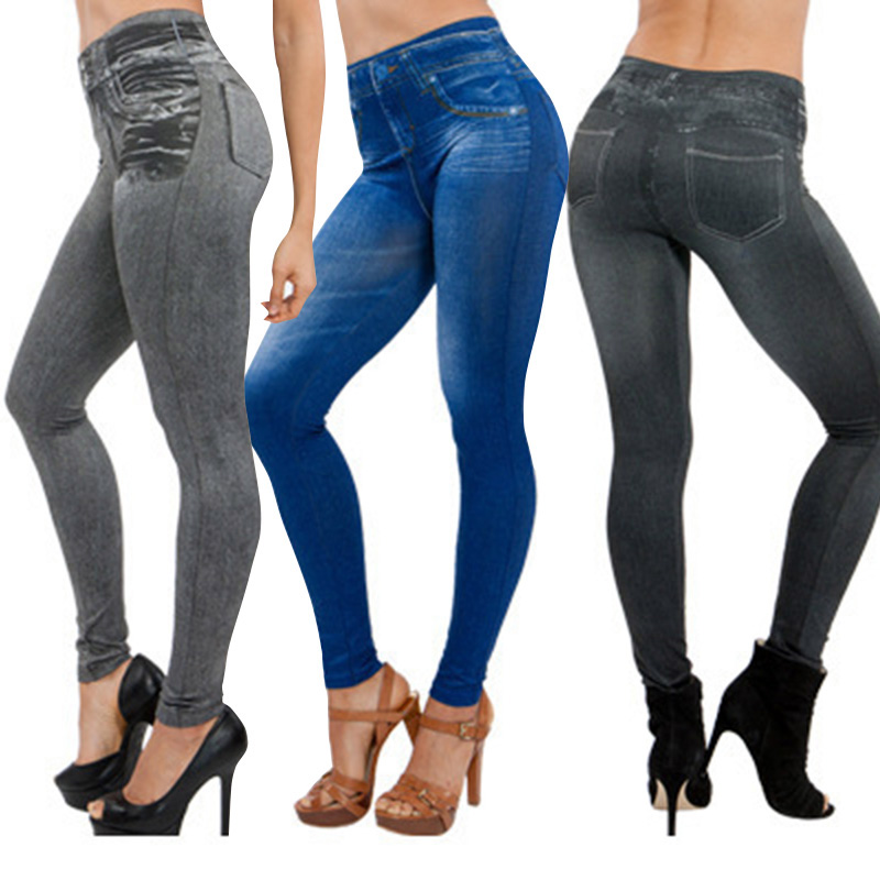 Hot Women Thin Jeans   Leggings   with Pocket High Waist Slim Fit Denim Pants Trousers CGU 88