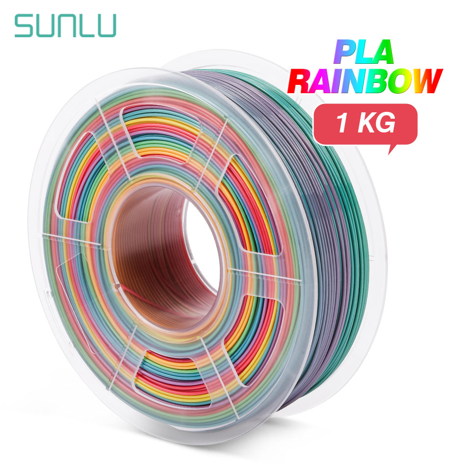 SUNLU Rainbow SILK PLA Filament 1 75mm Plastic PLA SILK 3D Printing Materials For 3d Printer New Arrivals Silk Rainbow Filament