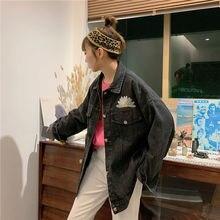 Женская джинсовая куртка с принтом Повседневная Свободная из