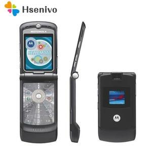 Image 1 - Оригинальный мобильный телефон Motorola Razr V3, хорошее качество, мировая версия, GSM, четырехдиапазонный мобильный телефон, один год гарантии, бесплатная доставка