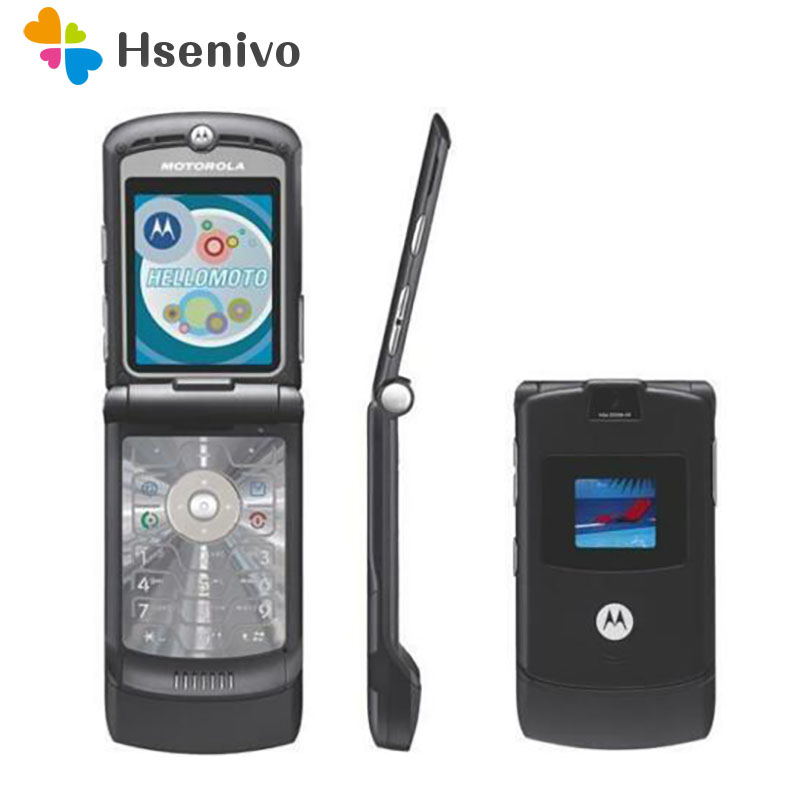 Original Motorola Razr V3 Good Quality World Version Flip Phone GSM Quad Band mobile phone one year warranty free shipping