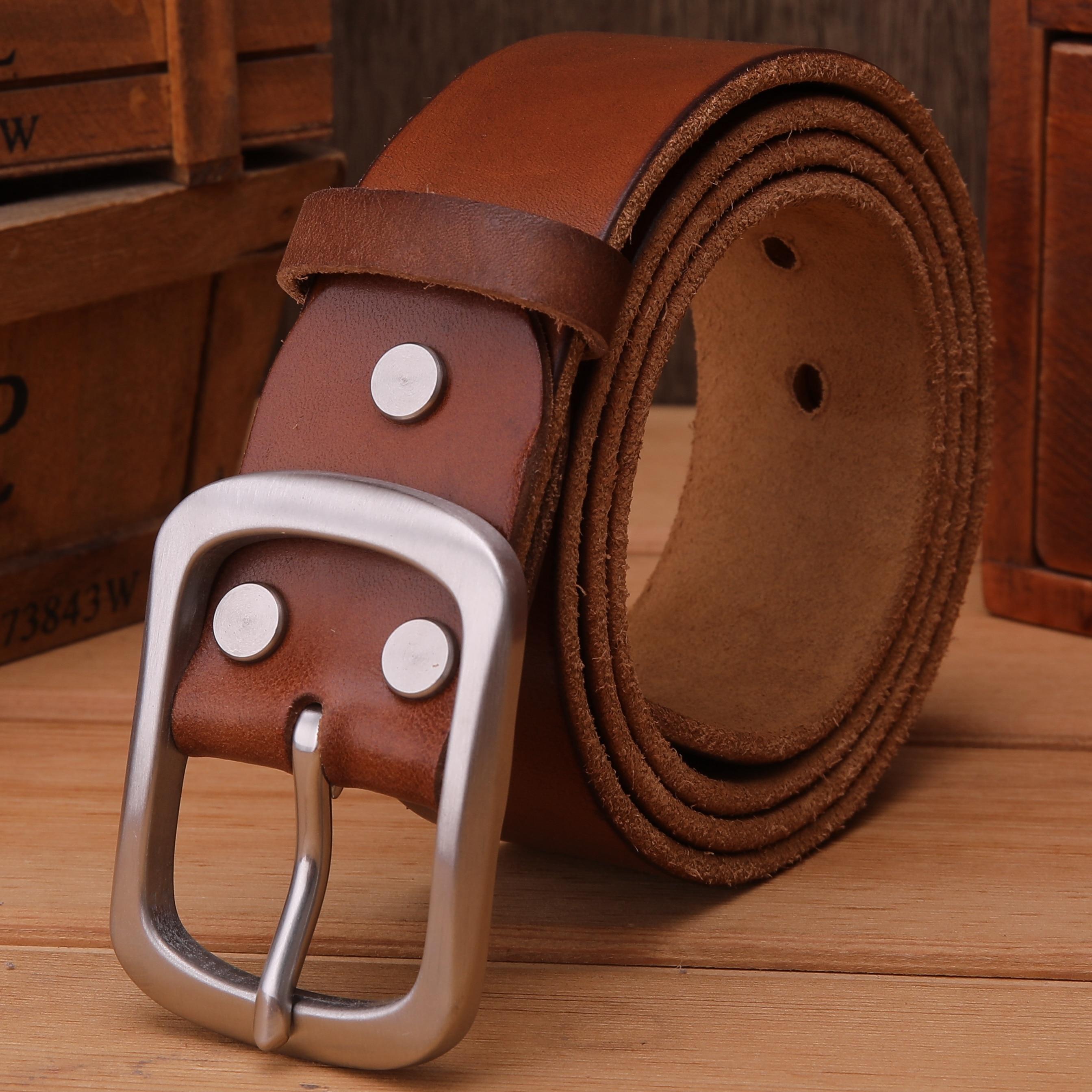 2019 Stainless steel buckle belt for men belts luxury full grain  real 100% genuine leather designer belt men high quality soft-in Men's Belts from Apparel Accessories