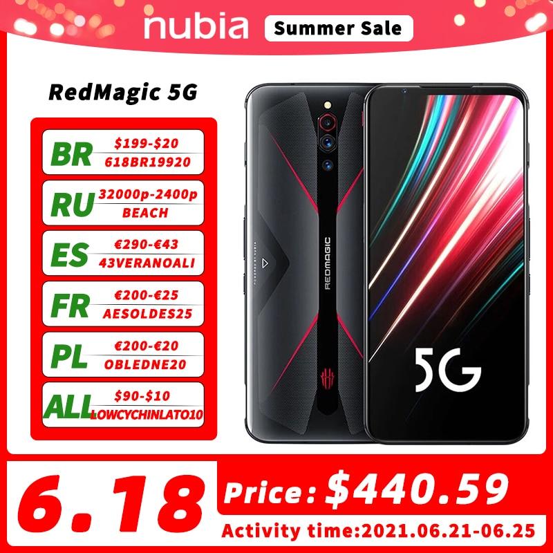 DHL Бесплатная доставка глобальная версия Nubia красный Магия 5G смартфон 6,65 дюймов Snapdragon 865 Octa Core 64MP 4500 мА/ч, Wi-Fi, 6