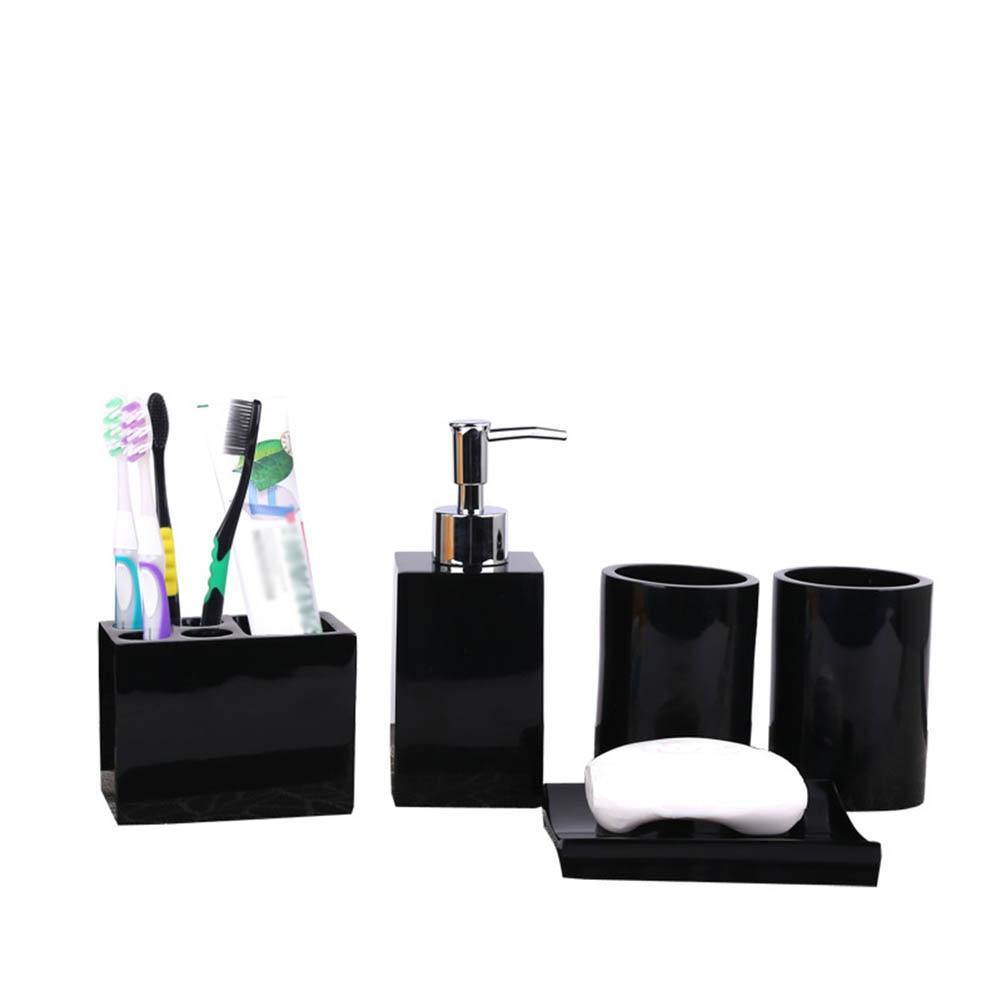 Distributeur de Lotion en résine 5 pièces | Porte-brosse à dents + porte-savon + 2 gobelets JA55