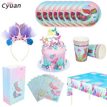 Cyuan Little Mermaid Festa di compleanno Decor Stoviglie Usa E Getta Kit Sotto il Mare Ragazza palloncini decorazione baby shower forniture(China)