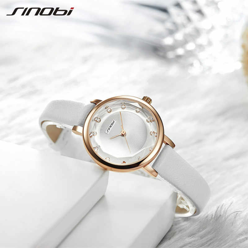 SINOBI חדש נשים שעונים פשוט אדווה יהלומי חיוג קטן אלגנטי גבירותיי שעון אדום לבן עור קוורץ שעוני יד נקבה מתנות