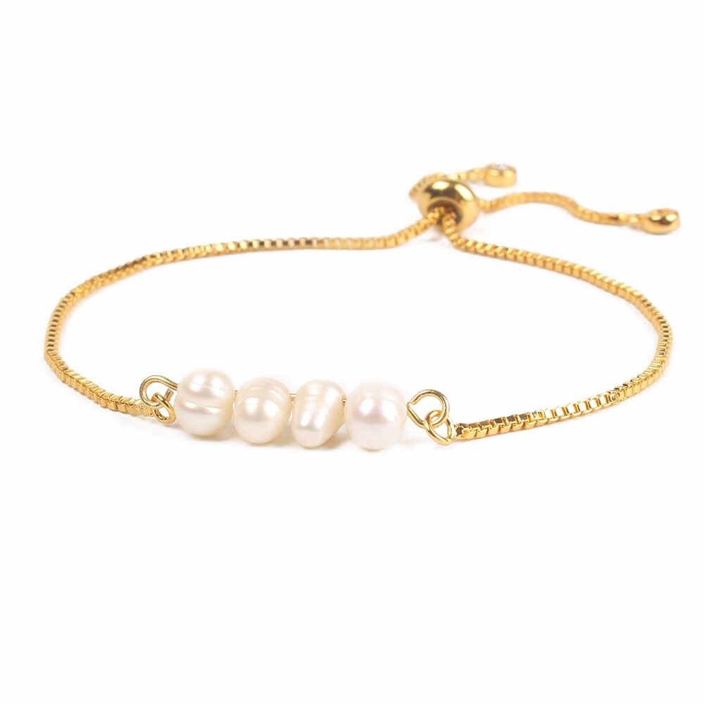 Bo2boho 2019 Bracelets For Women Pulseria Mujer Natural Pearl Bracelet Female New Beads Jewelry Gold Chain Friendship Adjustable