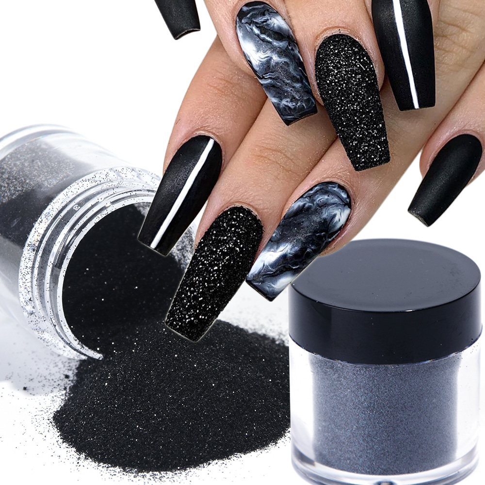 1 Box Black White Nail Glitter Dipping Powder Shiny Pigment Dust Laser Sugar Nail Art Sequins Glitters Decorations Manicure TRMN