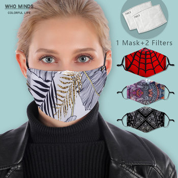 White Leaf Reusable Face mask With Filter Washable Mask Adjustable Straps Mouth Mask Windproof Anti Mouth-muffle Proof Flu Masks
