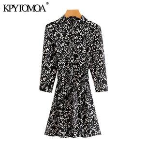 KPYTOMOA Women 2020 Chic Fashion With Belt Print Mini Dress Vintage Three Quarter Sleeve Side Pockets Female Dresses Vestidos