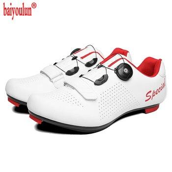 Branco leve estrada ciclismo sapatos de corrida respirável bicicleta spd cleat sapatos profissional auto-bloqueio tênis de bicicleta preto 1