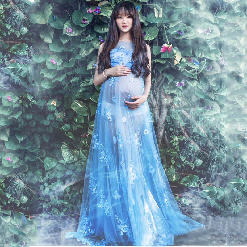 Embroidery Lace Maternity Photography Dresses For Photo Shoot Long Tulle Dress For Pregnant Women Fancy Blue Pregnancy Gown