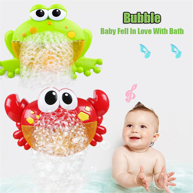 Dropshipping Bubble Machine Crabs Frog Music Kids Bath Toy Bathtub Soap Automatic Bubble Maker Baby Bathroom Toy For Children