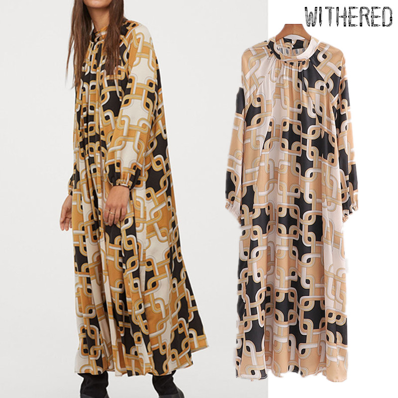 Withered England Vintage Court Chain Printing Party Dress Women Vestidos De Fiesta De Noche Vestidos Loose Maxi Dress Blazers