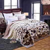Plaids Double-side Winter Thick Raschel Blankets Twin Full Queen Size Throws