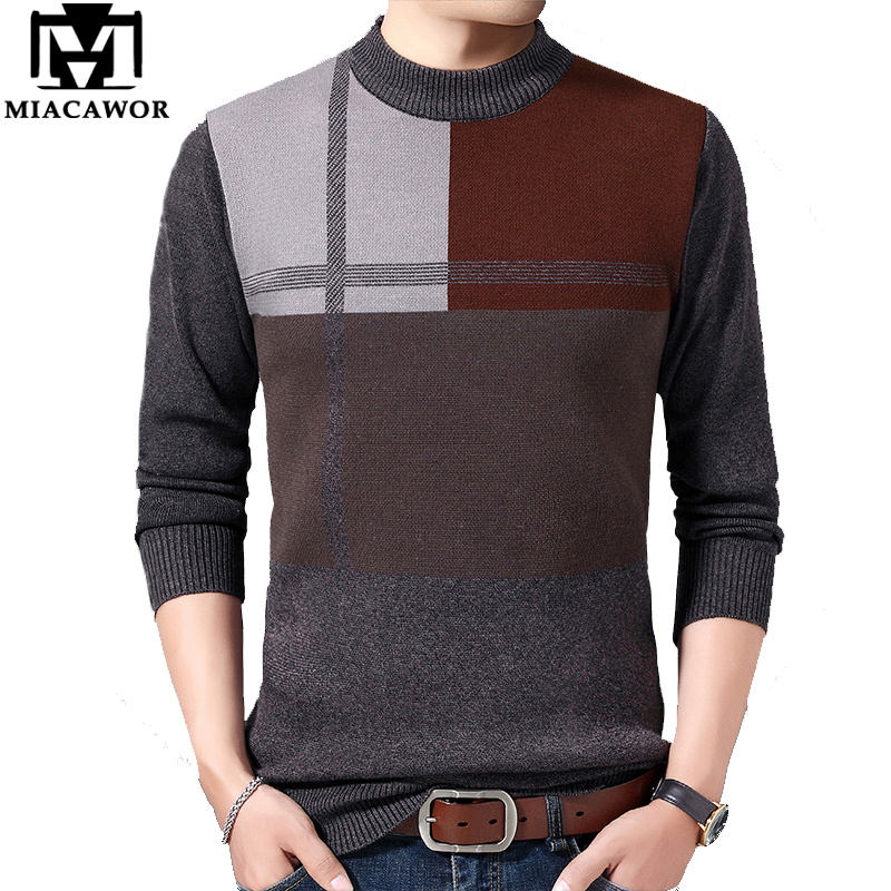 MIACAWOR Winter Warm Wool Sweater Mens Patchwork Pullover Men Knitted  Jumper Sweater O-Neck Sueter Hombre Plus Size Y176