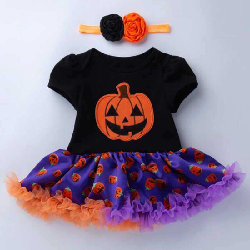 Вечернее платье на Хэллоуин для новорожденных, стильный комплект для маленьких девочек, кружевной полосатый комбинезон с короткими рукавами + повязка для волос, комплект из 2 предметов
