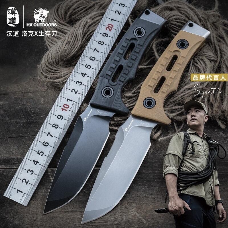 HX на открытом воздухе TD 13 охотничий прямой тактический нож фиксированные ножи, D2 лезвие, G10 ручка, спасательный инструмент для выживания кемпинга, Прямая поставка - 4
