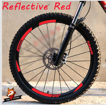 MTB Wheel Rim Stickers for Mountain Bike Replacement Reflective Fluo Race Cycling Dirt Vinyl Rim Decals image