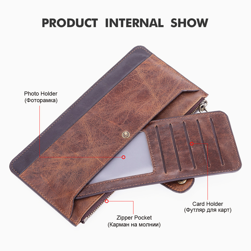 Image 3 - 2019 Fashion Men Wallets with Coin Purse Long Male Money Purses Dollar Mens Money Phone Bag Genuine Leather Thin Clutch WalletWallets   -