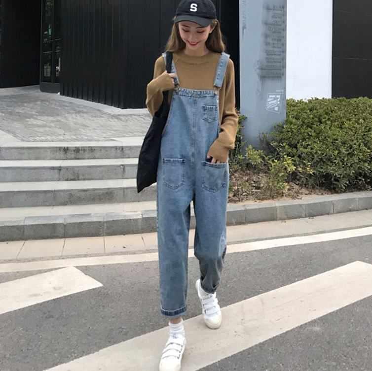 Новый осенний женский длинный джинсовый комбинезон, Одноцветный Повседневный джинсовый комбинезон с карманами, Модный женский длинный комбинезон