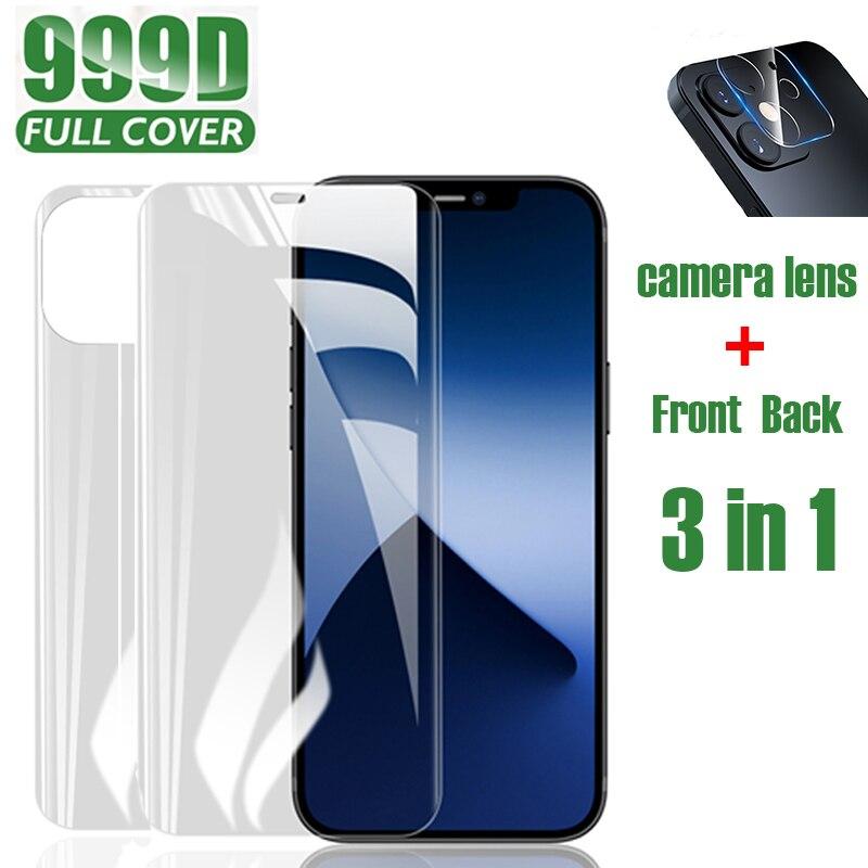 Protector de pantalla de teléfono, película de hidrogel para iPhone 11 Pro Max X XR XS Max 6 6s 7 8 Plus 12 Mini SE 2020, lente de cámara de vidrio templado