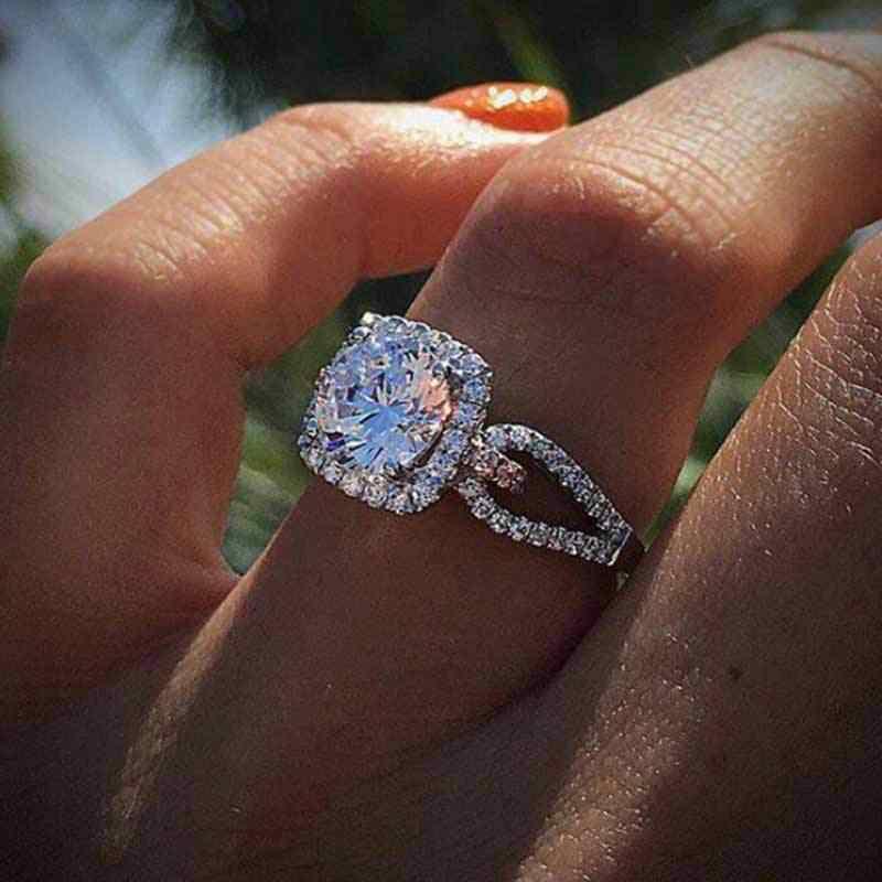 Новая мода Большой кубический цирконий Обручение Свадебные украшения для Для женщин вечерние Клубные класса люкс обещание Персонализированные Принцесса кольца, ювелирные подарки