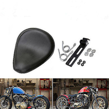 Motorcycle Black Leather Seat Bobber 3 Spring Solo Bracket For Chopper Custom Seats