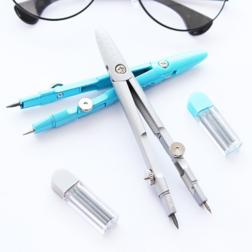 1 Set Mathematical Compasses Drawing Gadgets Math Learning Stationery Geometry Compass With Spare Lead Core Office Supplies