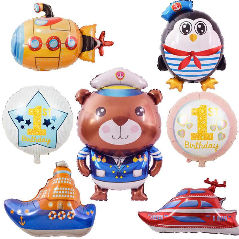 Pacific mare Cruise Astronave submarine captain crew fuoco aerei foil balloon bambini hero Festa di Compleanno Decorazione Della parete di Fondo