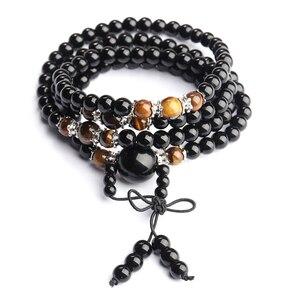 Black Color Tiger Eye Bracelet 108 Crystal Prayer Bead Mala Bracelet/Necklace Tibet Buddhist Buddha Meditation Bracelet(China)